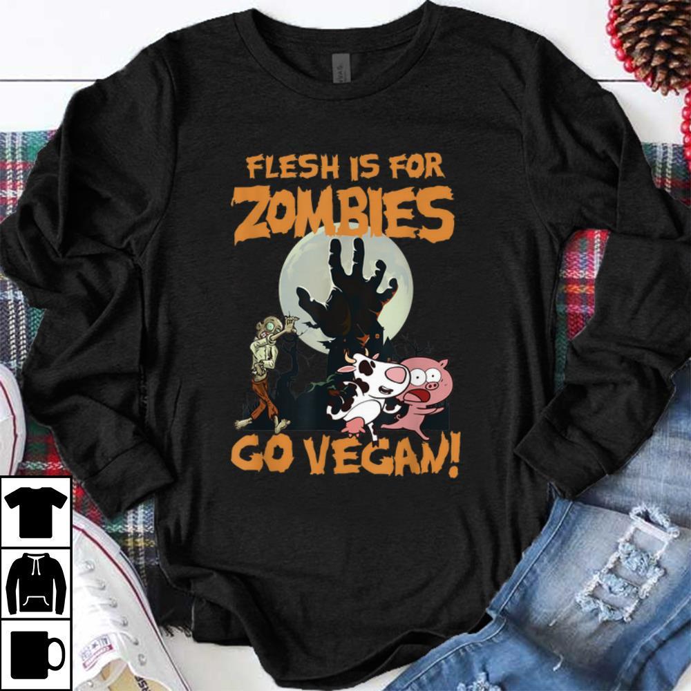 Premium Flesh Is For Zombies Go Vegan Halloween Shirt 1 1.jpg