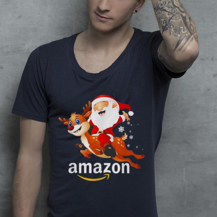 Top Amazon Christmas Santa Claus Riding Reindeer shirt