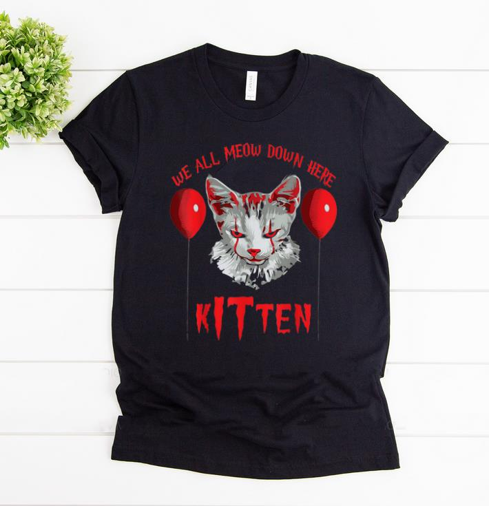 Top Clown Cat We All Meow Down Here Kitten Halloween Scary Cat Shirt 1 1 1.jpg