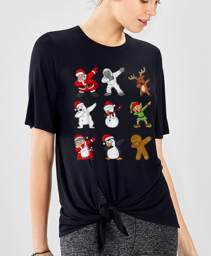 Awesome Dabbing Santa Claus And Friends Christmas shirt
