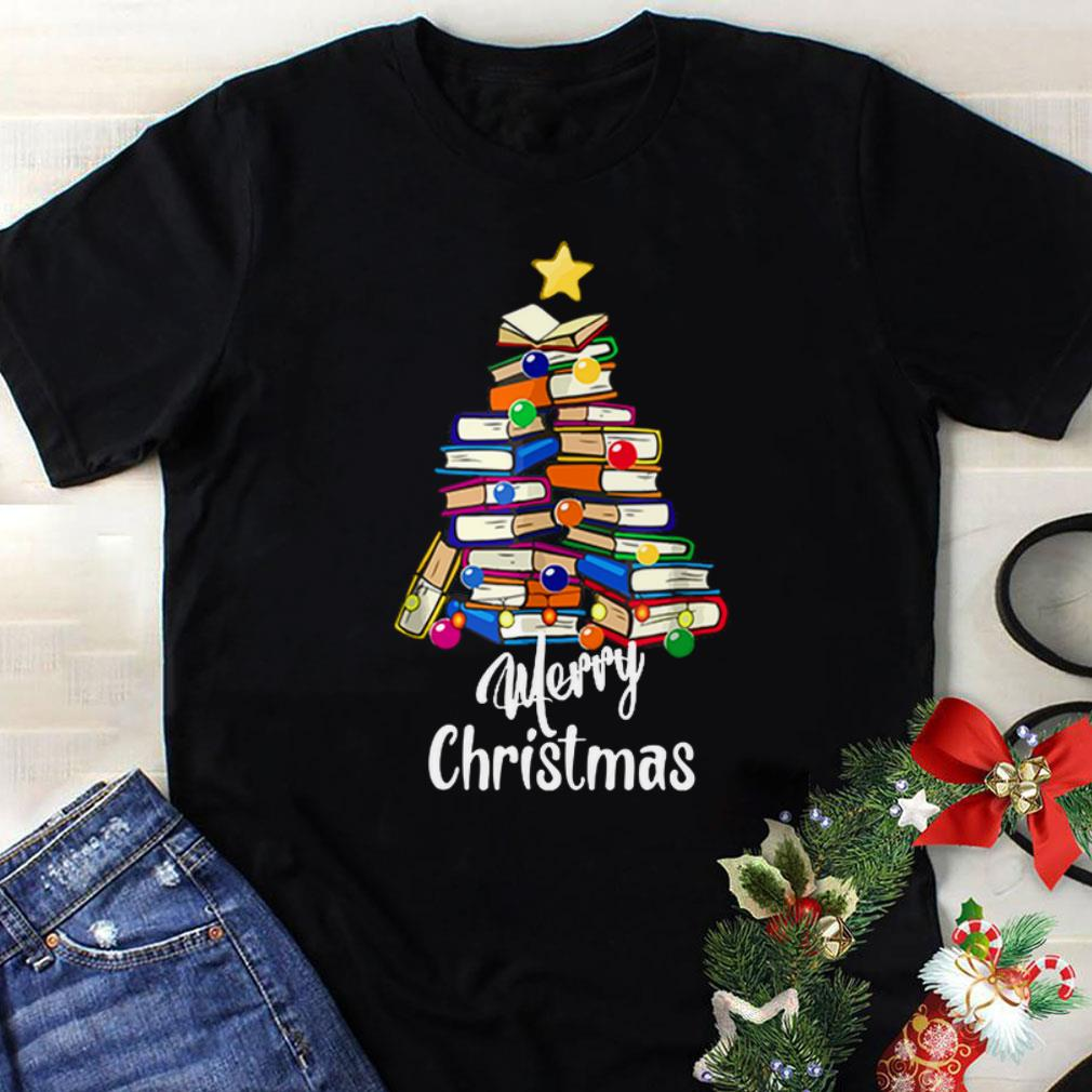 Awesome Reading Books Tree Librarian Merry Christmas Book Lovers Shirt 1 1.jpg
