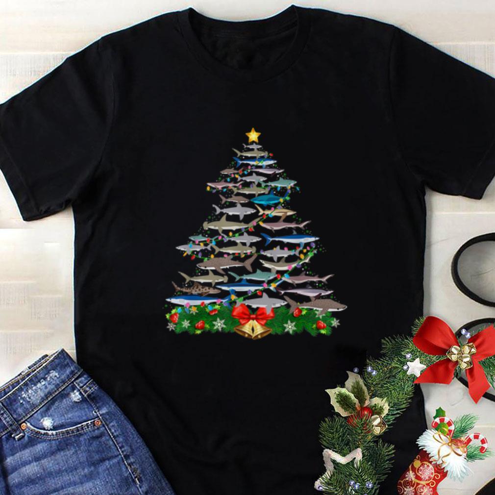 Awesome Shark Christmas Tree Shark Lovers Christmas shirt