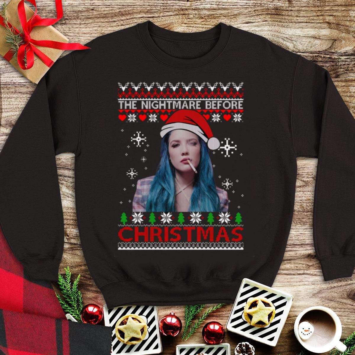 Awesome Ugly christmas Halsey the nightmare before shirt