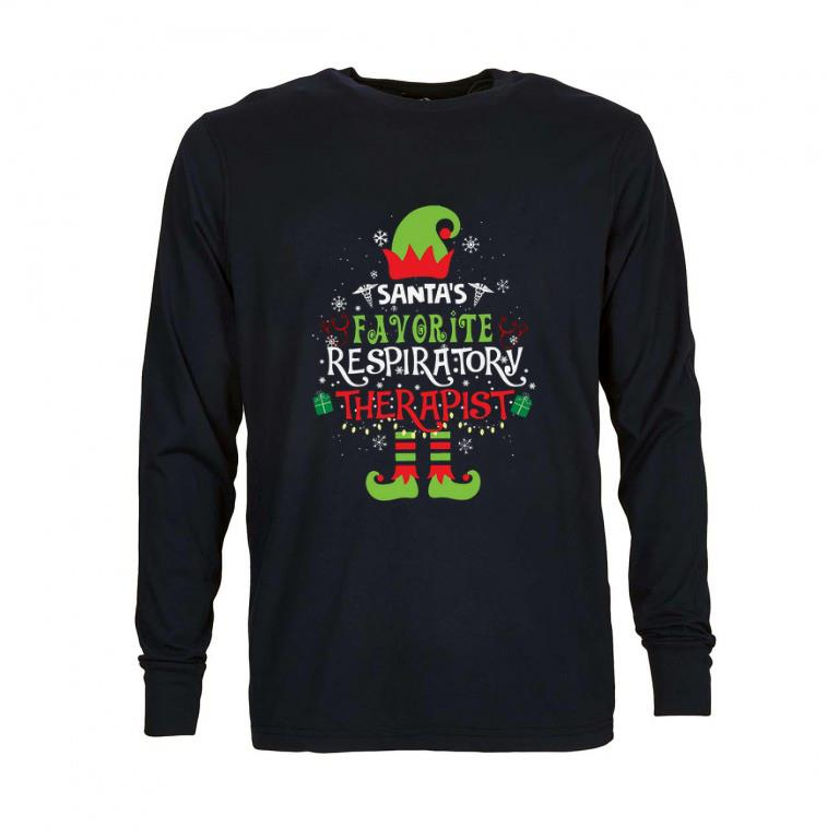 Nice Elf Christmas santa's favorite respiratory therapist shirt