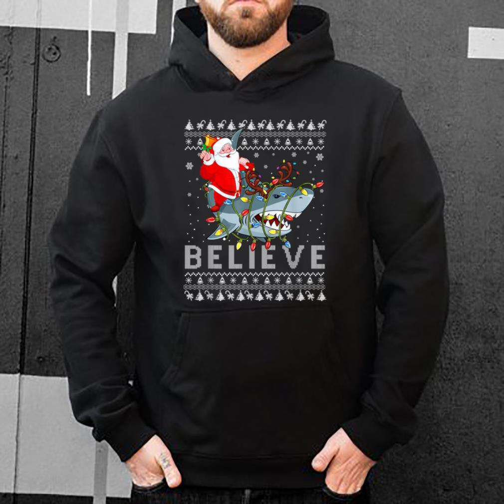 Original Believe In Santa Riding Shark Ugly Christmas shirt