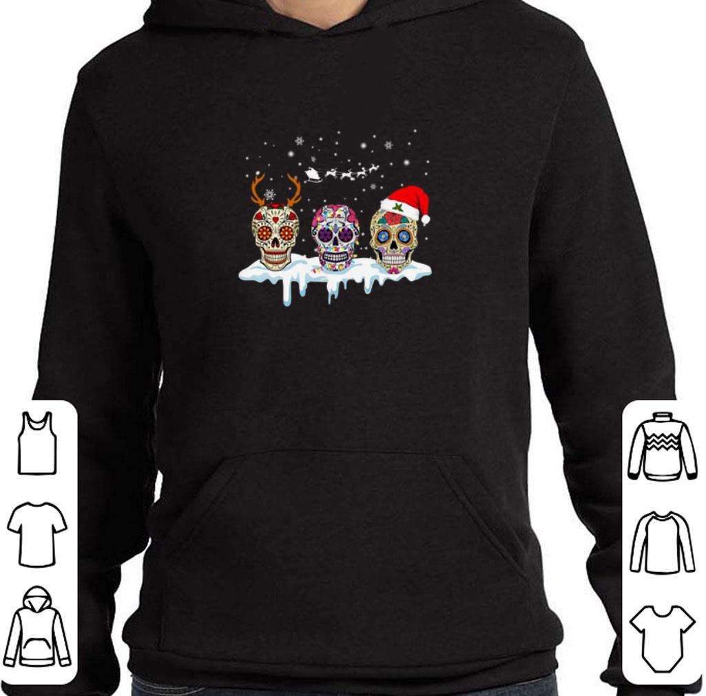 Original Sugar skulls with Christmas Santa hat reindeer shirt