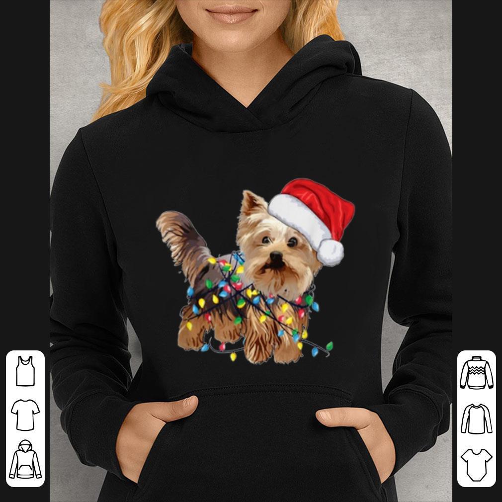 Original Yorkie Tree Christmas Santa Hat Light Xmas Tree Gift shirt