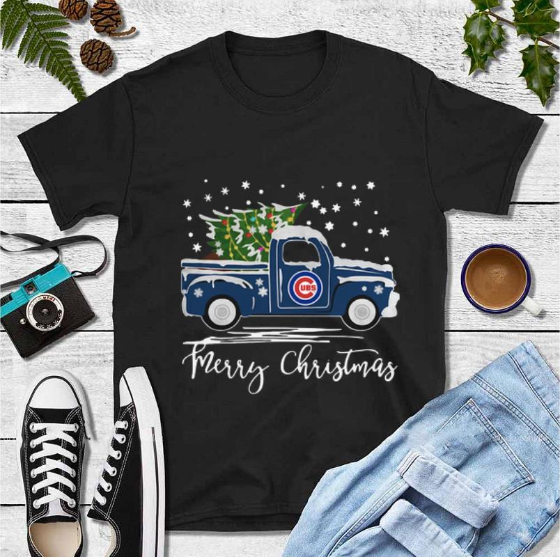 Premium Chicago Cubs Pickup Truck Merry Christmas shirt