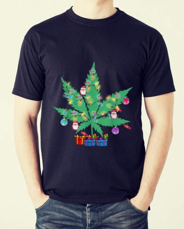 Top Cannabis Leaf Christmas Tree Funny Xmas Pajama Gift Shirt 2 1.jpg
