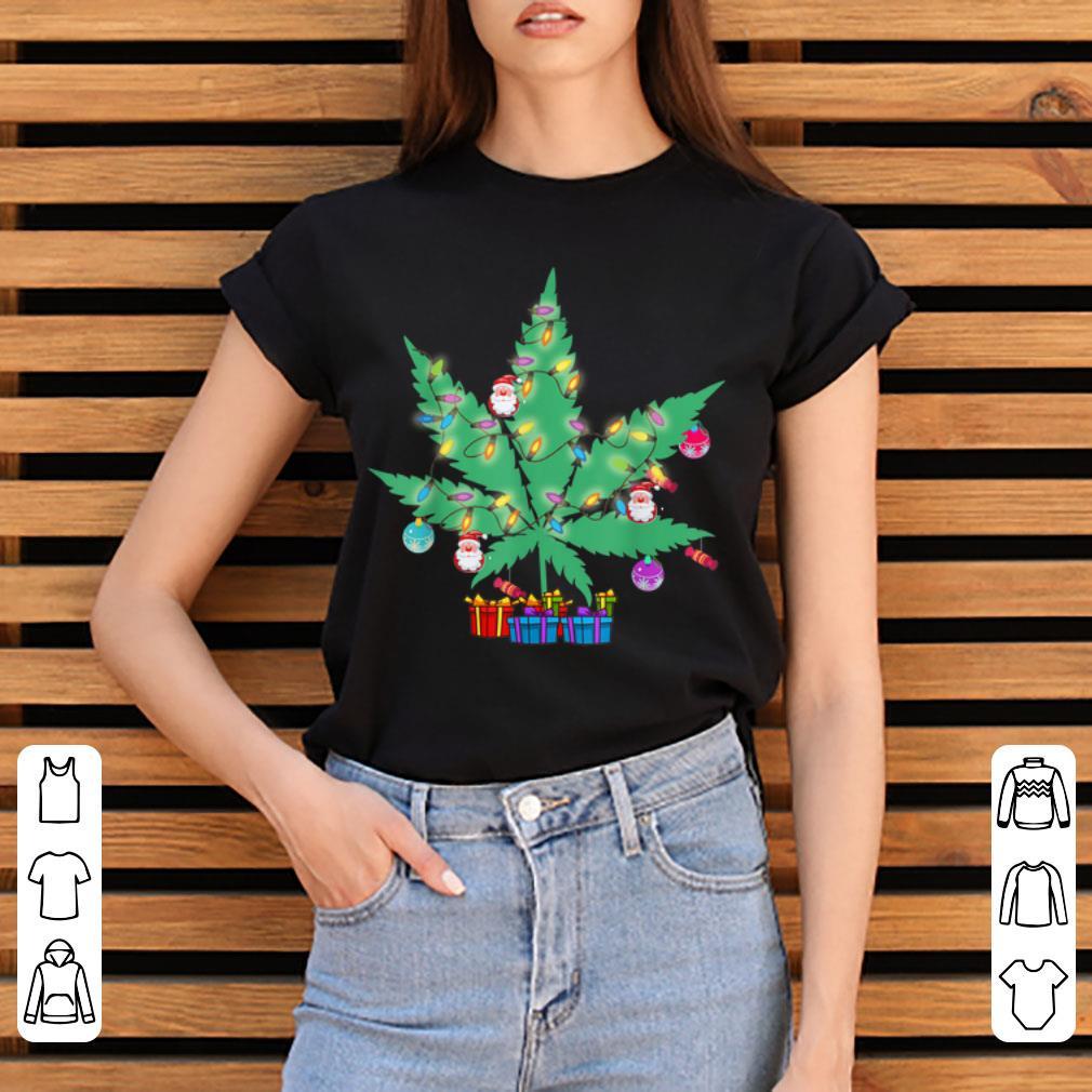 Top Cannabis Leaf Christmas Tree Funny Xmas Pajama Gift Shirt 3 1.jpg