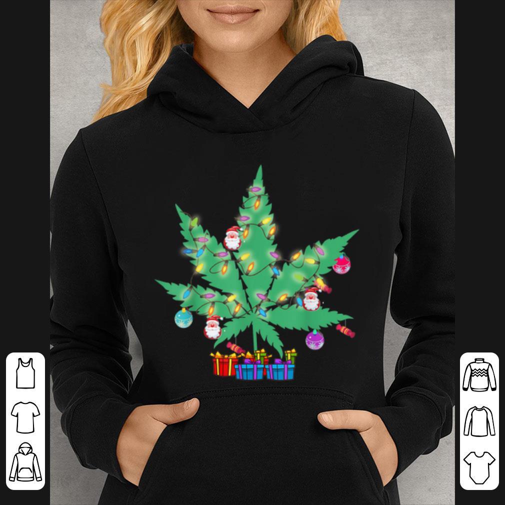 Top Cannabis Leaf Christmas Tree Funny Xmas Pajama Gift shirt