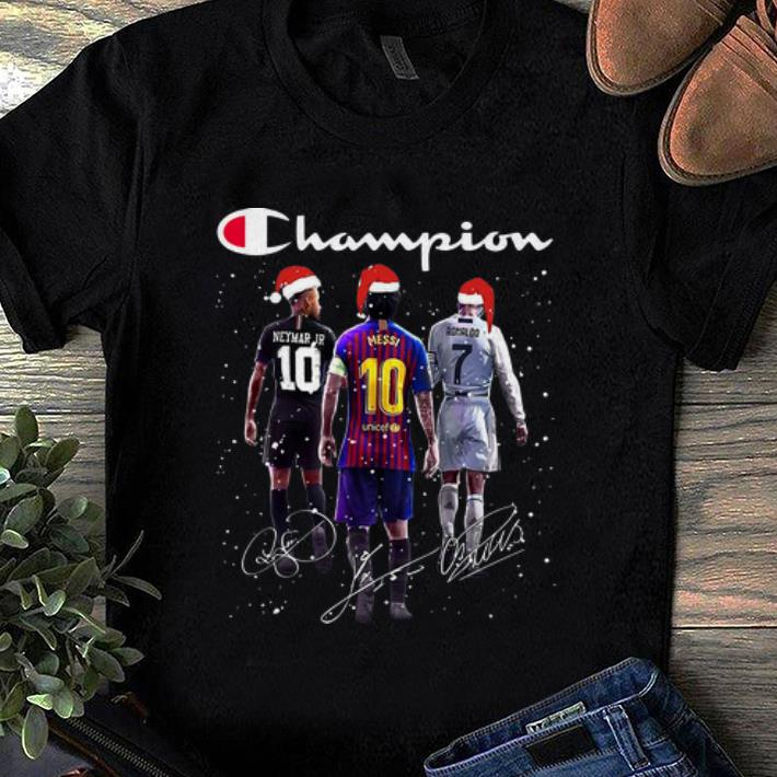 Top Champion Neymar Jr Messi And Ronaldo Signatures Christmas Shirt 1 1.jpg