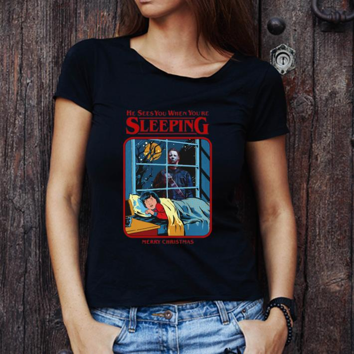 Funny Michael Myers Sees You When You Re Sleeping Merry Christmas Shirt 3 1.jpg