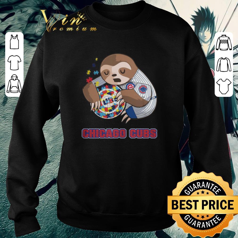Funny Sloth hug Autism Chicago Cubs shirt