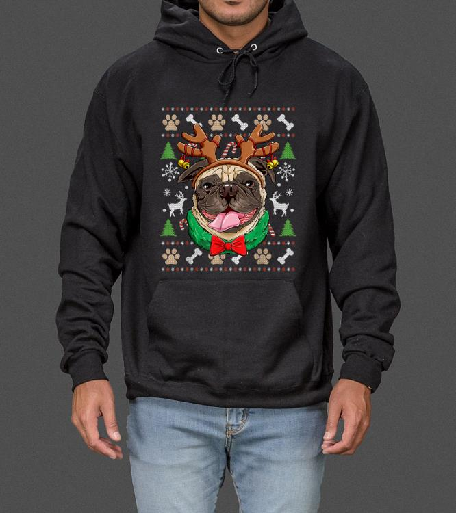 Great Pug Ugly Christmas Reindeer Antlers Xmas Girls Kids Women sweater