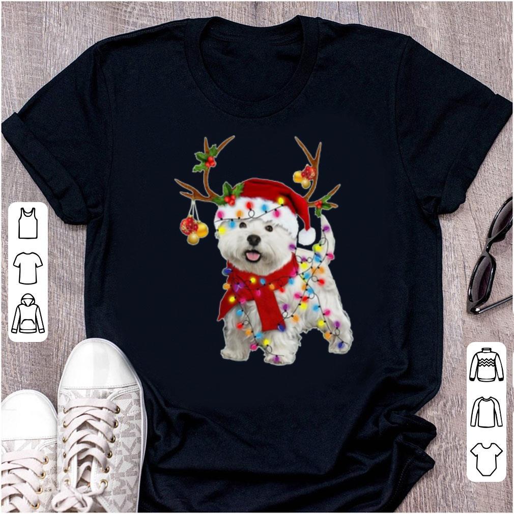Hot Santa Westie Dog Gorgeous Reindeer Christmas Light Shirt 1 1.jpg