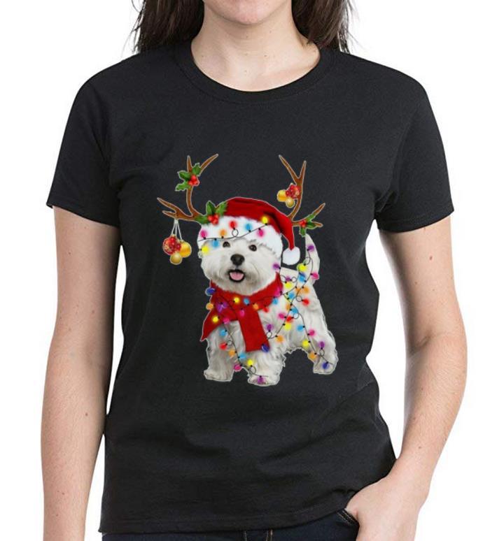 Hot Santa Westie Dog Gorgeous Reindeer Christmas Light Shirt 3 1.jpg