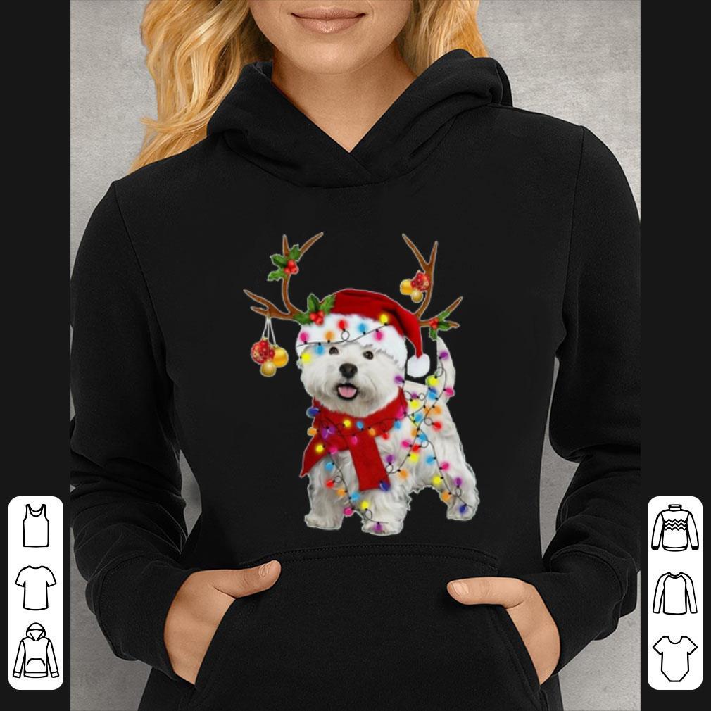 Hot Santa Westie Dog Gorgeous Reindeer Christmas Light shirt