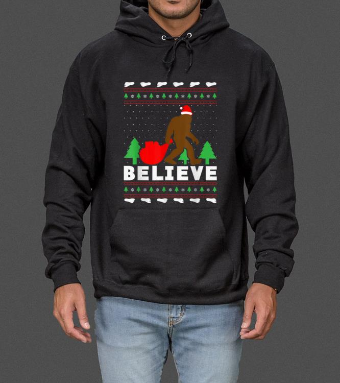 Official Christmas Believe FUNNY Bigfoot Ugly Xmas sweater