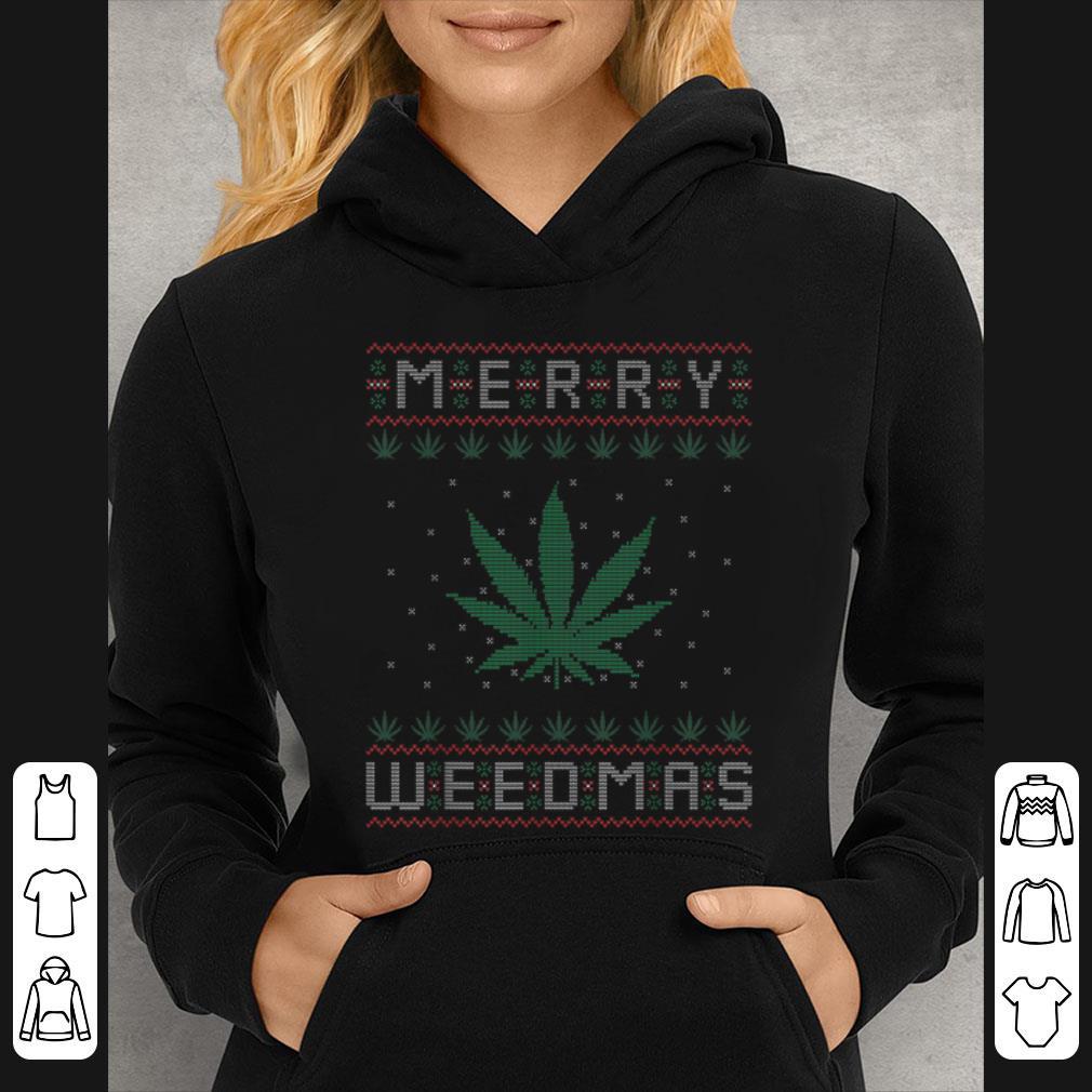 Top Merry Weedmas Weed Bong Cannabis Leaf Ugly Christmas sweater