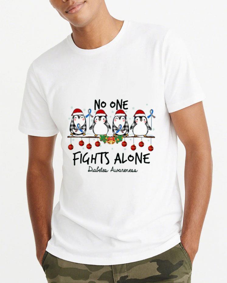 Top Penguin Santa No one Fights alone Christmas shirt