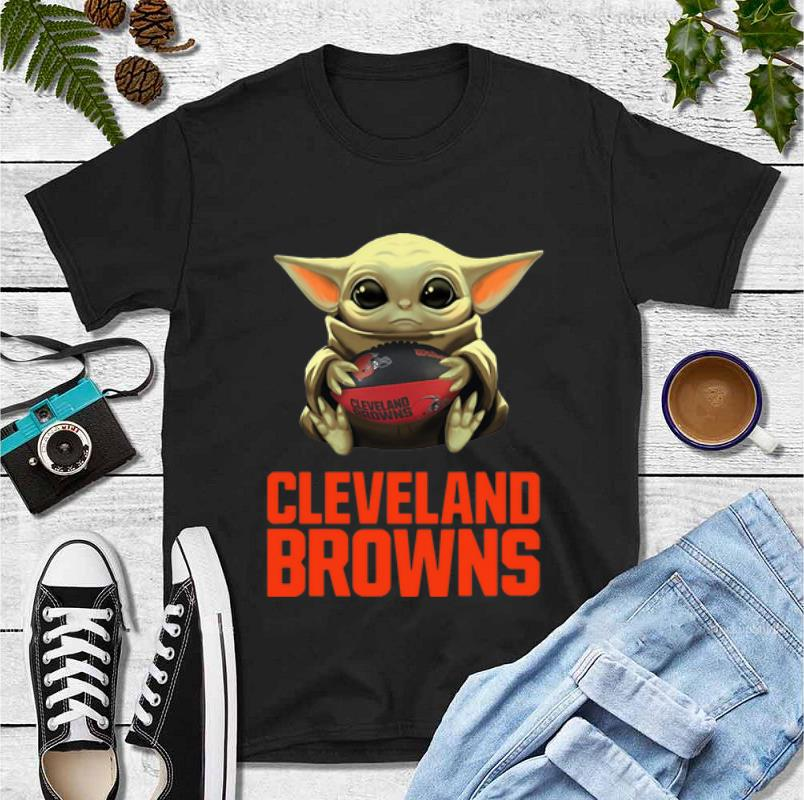 Premium Star Wars Football Baby Yoda Hug Cleveland Browns shirt