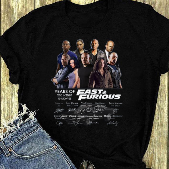 Original Years Of Fast And Furious Signatures shirt