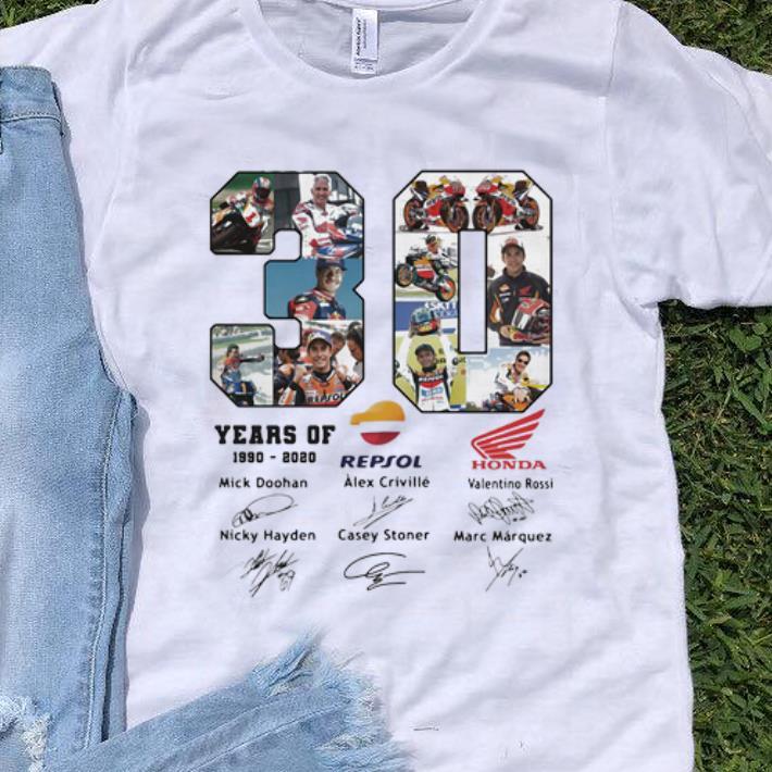 Awesome 30 Years Of Repsol Honda 1990 2020 Signatures Shirt 1 1.jpg