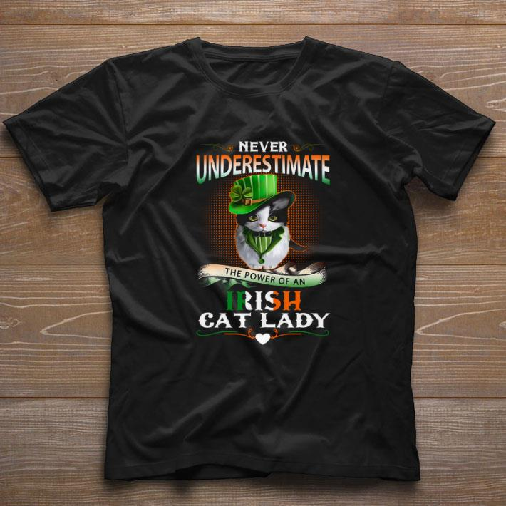 Hot Never Underestimate The Power Of An Irish Cat Lady Patrick Day Shirt 1 1.jpg