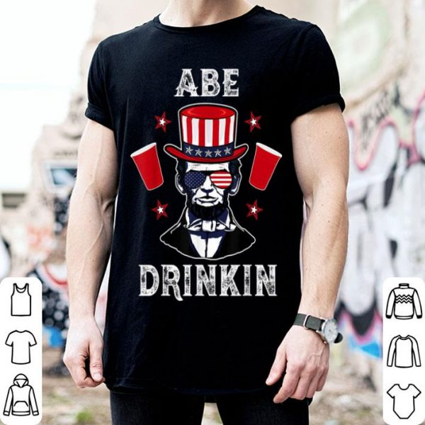 4th Of July Abe Drinking American Patriot Independence shirt