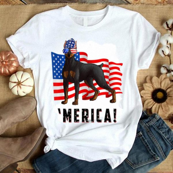 4th Of July Doberman Pinscher Dog Merica Tee Shirt