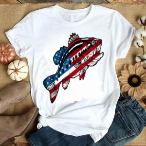 4th Of July Fishing American Flag Bass Shirt