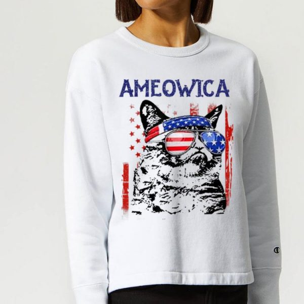 4th Of July Meowica Cat American Flag Glasses Funny Shirt