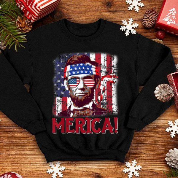 4th Of July Merica Abraham Lincoln American Flag Independence Day Shirt