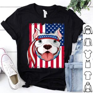 4th of July merica patriotic USA Flag pitbull shirt