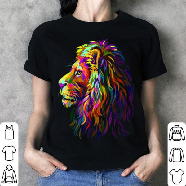 Abstract Multi-colored Lion Head LGBT Pride shirt