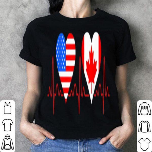 America Canada Flag Heartbeat Patriotic Shirt