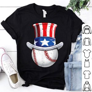 Baseball Uncle Sam 4th Of July Boys American Flag shirt