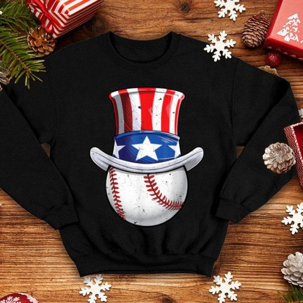Baseball Uncle Sam 4th Of July Boys American Flag shirt