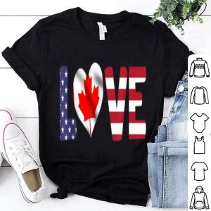 Canada USA Flag Heart Canadian Americans Love shirt