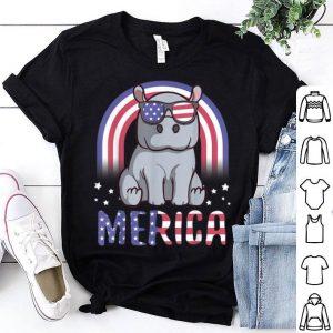 Merica Hippopotamus American Flag 4th Of July Hippo Shirt