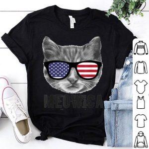 Patriotic Cat Kitten American Flag Glasses Shirt