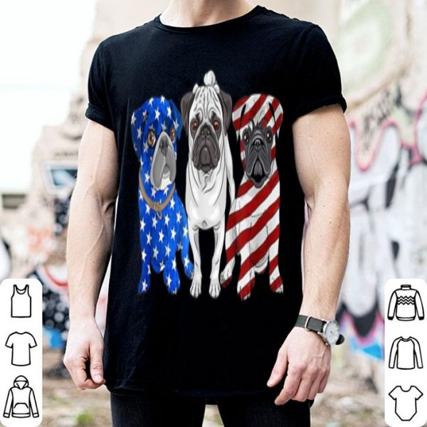 Pug July 4th Patriotic American Flag shirt