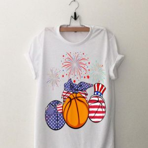 Red White Blue Basketball American Flag 4th Of July shirt