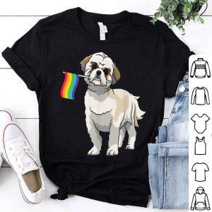 Shih Tzu Holding Rainbow Flag Lesbian Gay Pride Lgbt Shirt