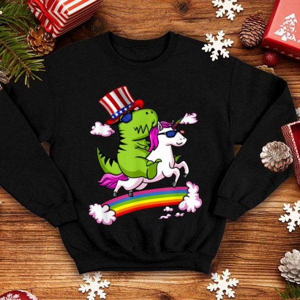 T-rex Riding Unicorn American Hat Patriotic July 4th Shirt