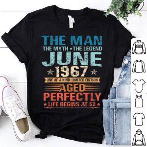 The Man Myth Legend June 52nd Birthday Gifts Shirt
