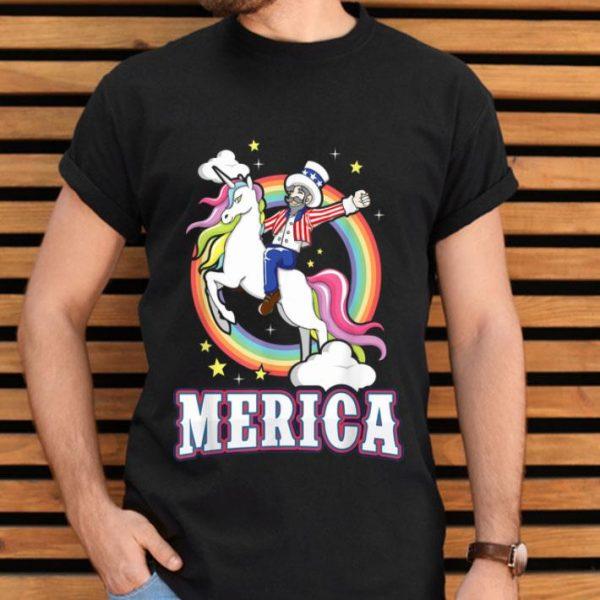 Uncle Sam Riding Unicorn Americorn USA Merica 4th of July Rainbow Unicorn LGBT Pride shirt