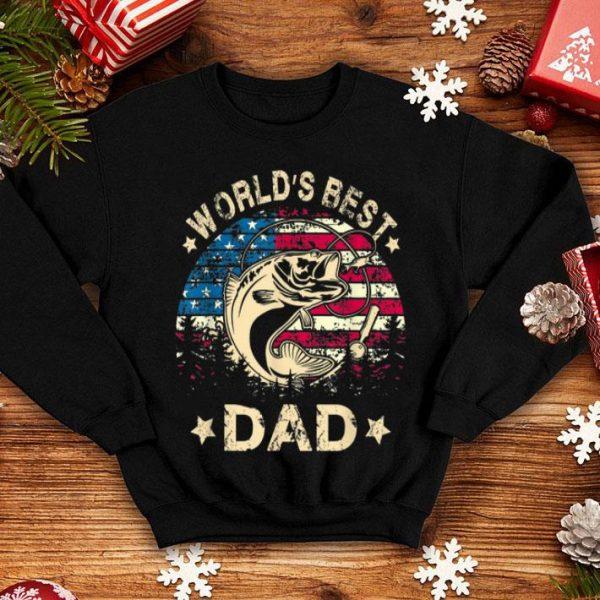 World Best Fishing Dad 4th Of July American Flag shirt