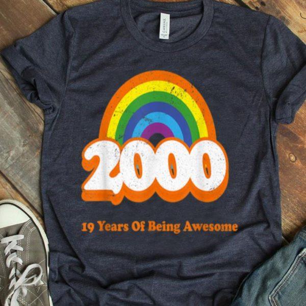 2000 Rainbow Retro Vintage 19 Years Old Bday 19Th Birthday shirt